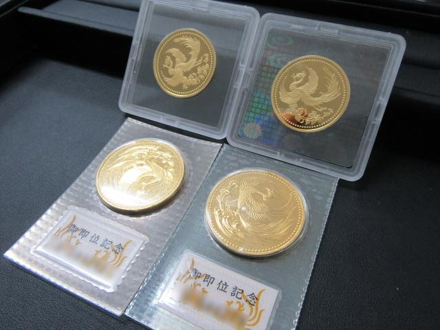 天皇陛下御在位10年記念1万円金貨と天皇陛下御即位記念10万円金貨 買取 盛岡 まねき堂